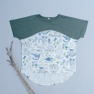 Double yarn T-shirt - dark green hand-painted dinosaur hand made non-toxic children's clothing T-shirt cotton gauze towel