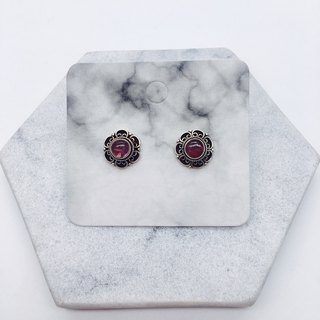 Pink Tourmaline 925 Sterling Silver Lace Design Earrings Nepal Handmade Inlay