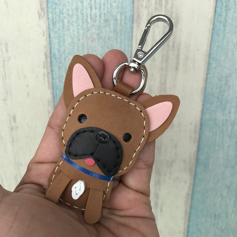 Handmade leather brown law dog pure hand-stitched leather keychain small size