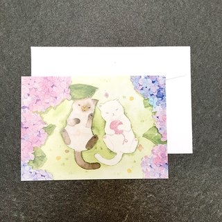 Cat and hydrangea watercolor postcard