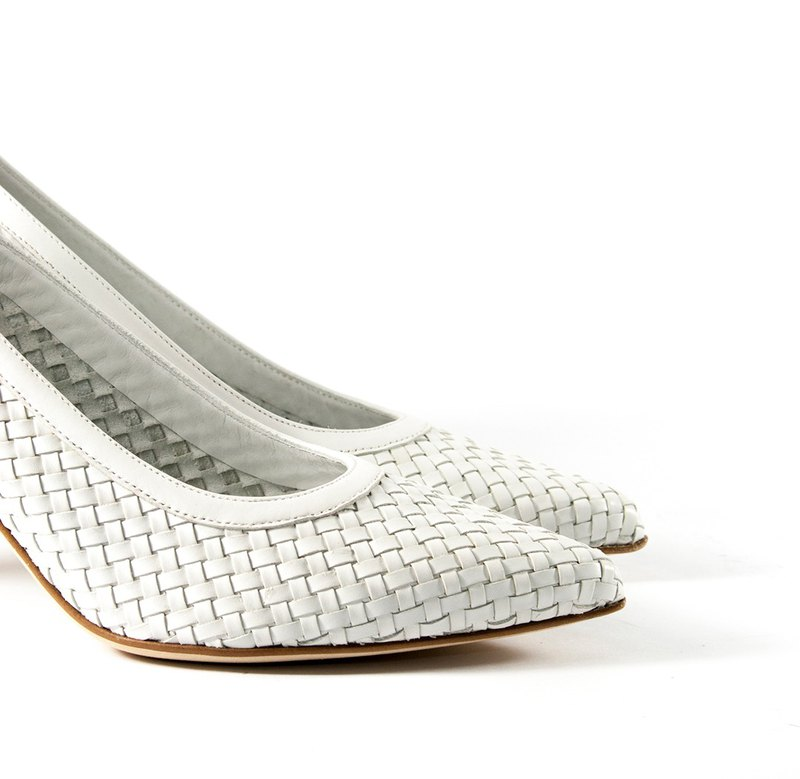 ITA BOTTEGA [Made in Italy] solid color woven pointed heel
