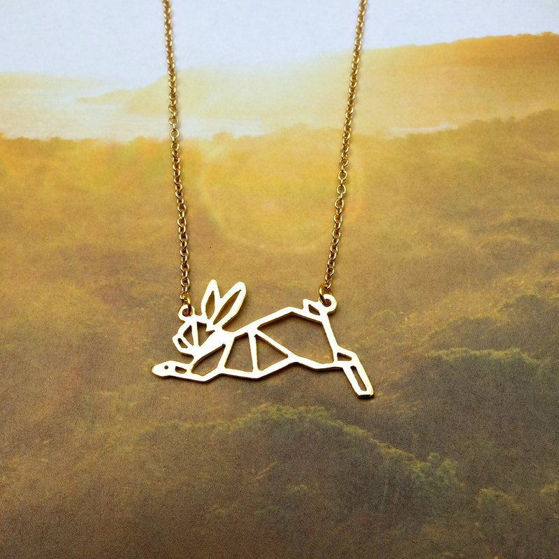 Rabbit Necklace, Origami Animal Necklace, Pet Necklace, Rabbit Gifts