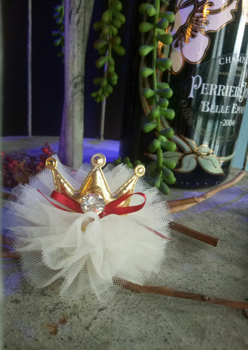 [White gauzy little princess] fairy tale wind crown hairpin baby hair band