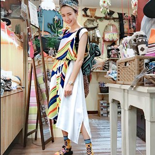 Pre-order summer color stripe long dress (two colors) IAC-8226