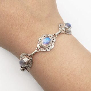 Moonstone Sterling Silver Classic Lace Bracelet Nepal handmade inlay production