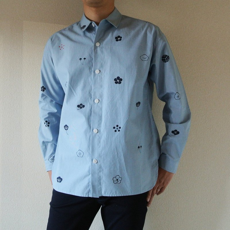 Mens · Gingham check shirt light blue plum family crest