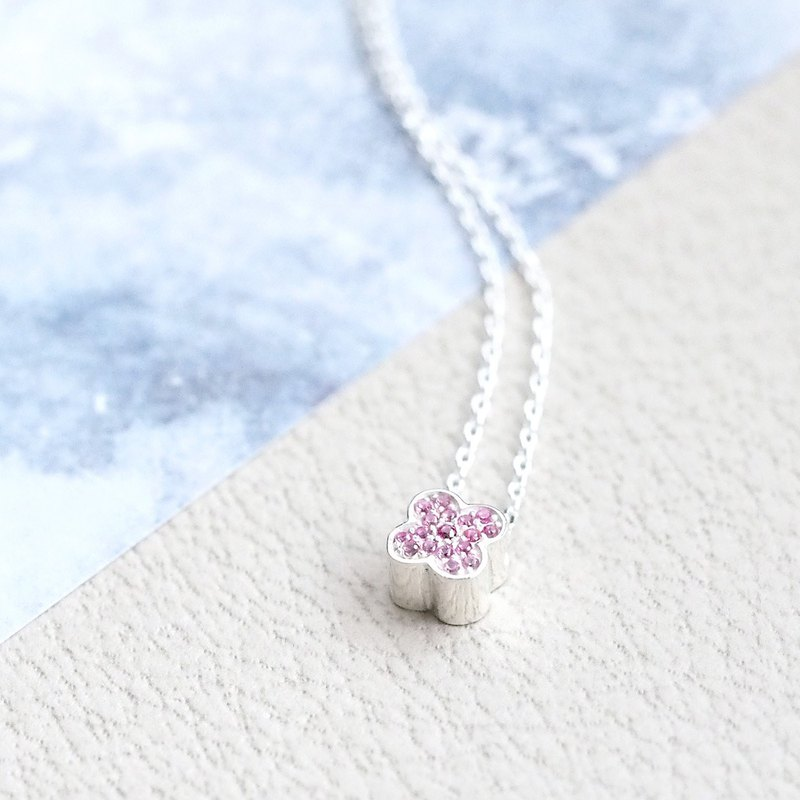 Pink clover necklace 925 silver