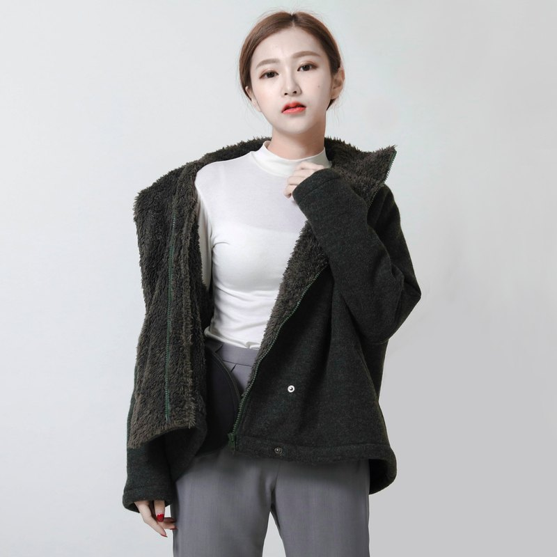 Hunter Hunter Fluffy Jacket _6AF206_军绿
