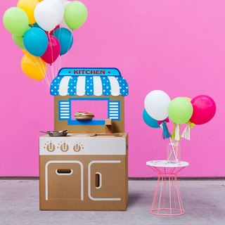 Mini kitchen (with blue store backboard stickers) play home wine fun creative gifts green toys