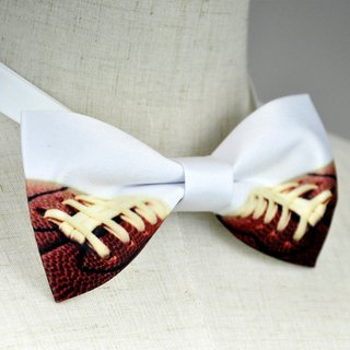 Rugby bow tie, Football bow tie, white bow tie, rugby necklace, white enamel