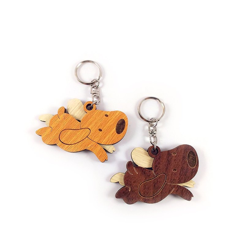 Woodcarving key ring - puppy