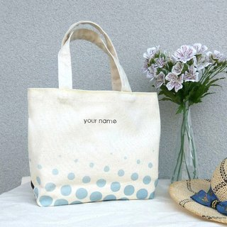 【Customized Name】 Blue Point / Print Canvas / Hand Bag - Gift Tote Bag