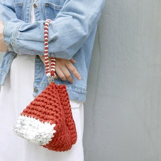 Duo Color Triangle Handbag, crochet, knit, handmade (Inked / Maroon)