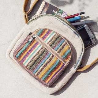 Natural hand-woven cloth splicing backpack backpack shoulder bag mobile phone bag travel bag - weaving rainbow stripes