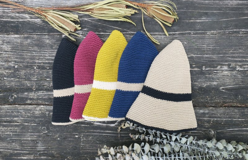 A mother の hand-made cap - hand-made cotton rope hook hat / simple striped fisherman hat / gift / picnic / Christmas