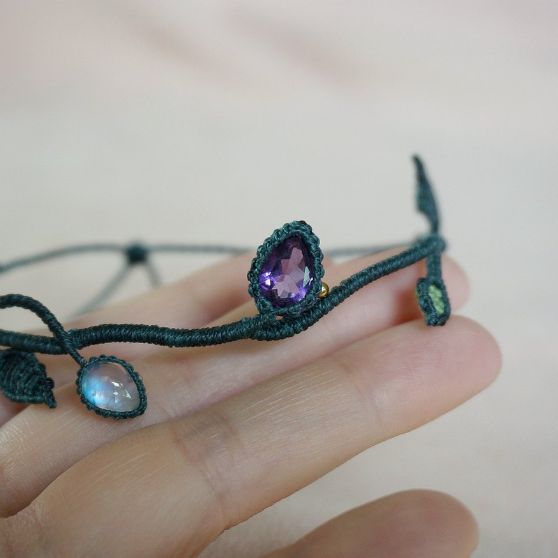 MS CHILDREN Original Design Vine Amethyst Moonstone Braided Clavicle Chain Bracelet