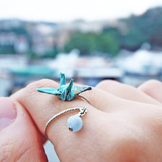 Mini cranes Crystal Ring (clear water, clear) - Valentine's Day gift