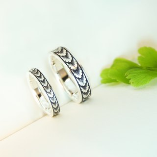 Leaves - Micro engraved Sterling Silver Rings