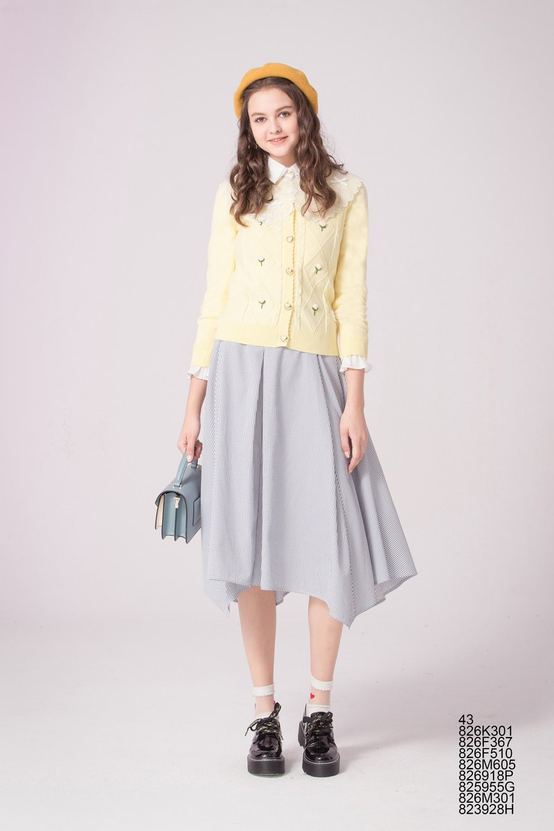 Striped belt exhibition wavelength skirt 826F510