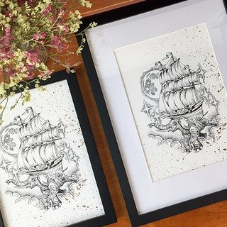 Limited edition painting painting core, illustrations letterpress zhong printing + bronzing craft, illustrator tattooist Xie Yuifei works, deer whale elephant bird compass