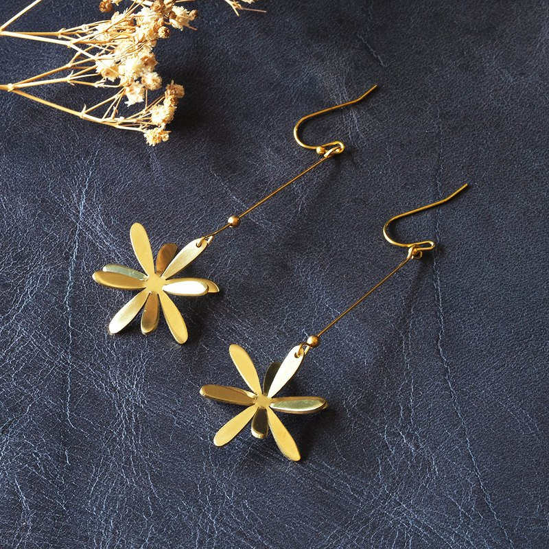 Long Marigold flower brass earrings