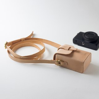SEANCHY Leather Camera Case with strap, Hand stitched genuine veg tan Leather