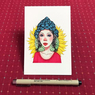 Postcard sunflower red nose girl