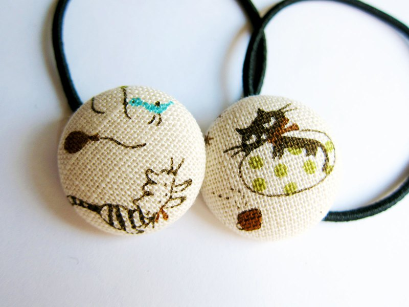 Hand made cloth bag button hair band hair ring daily cat