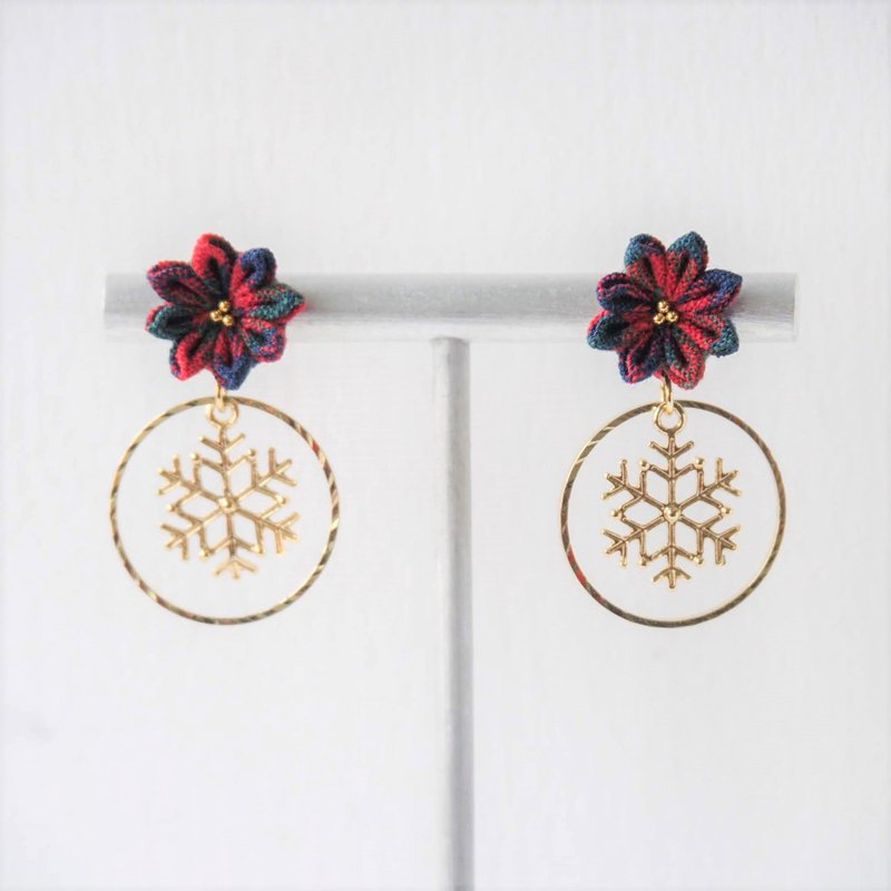 [British Christmas] British style Christmas flower snowflake custom earrings ear clip 14kgf 925