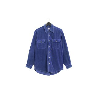 Back to Green :: Corduroy thick striped blue / / men and women can wear / / vintage Shirts