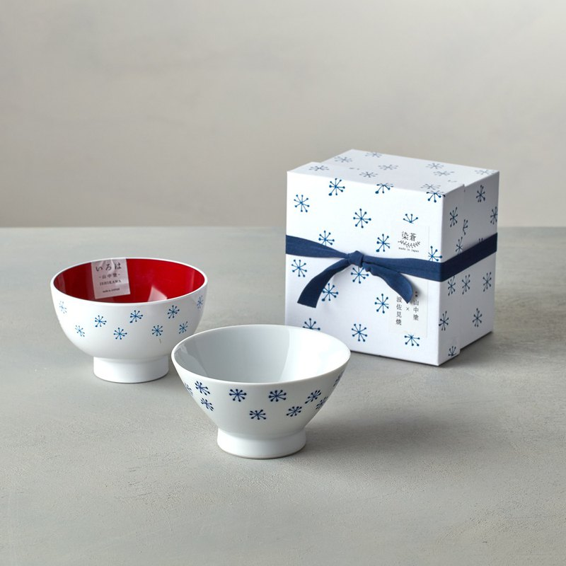 Shizuka Pokzo Saki - Blue Painted Snowflake - Lacquerware Bowl Gift Set (2 pieces)