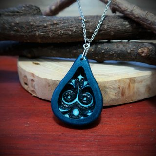 Water element water magic wood carving necklace