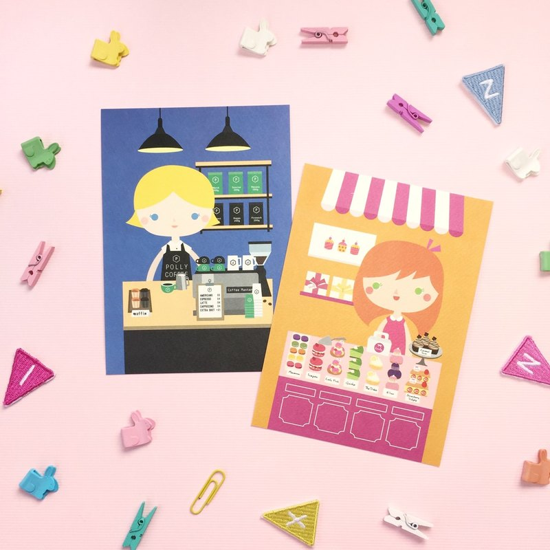 [Girls and Their Shops] polly's cafe + emily's dessert shop - Postcard Set