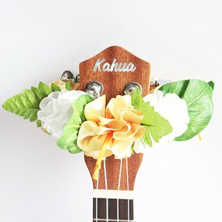 ribbon lei for ukulele (yellow hibiscus) / ukulele strap / ukulele ribbon /