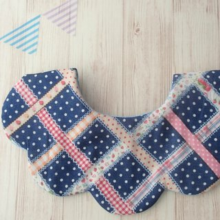 Baby Girl Bib, Navy Ribbon Plaids / Light Blue,Reversible,Cute,Scalloped