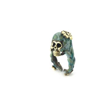 Zodiac Virgin skull ring is for Virgo in Brass and Patina color ,Rocker jewelry ,Skull jewelry,Biker jewelry