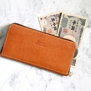 Small orange peeled tanned leather zipper long clip / wallet