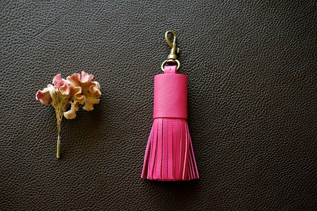 Genuine Leather Bag Tassel / Bag Charm / Key Holder * Vivid Pink