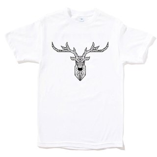 Deer Geometric Short Sleeve T-shirt White Geometric Deer Universe Design Own Brand Milky Way Trendy Rounded Triangle
