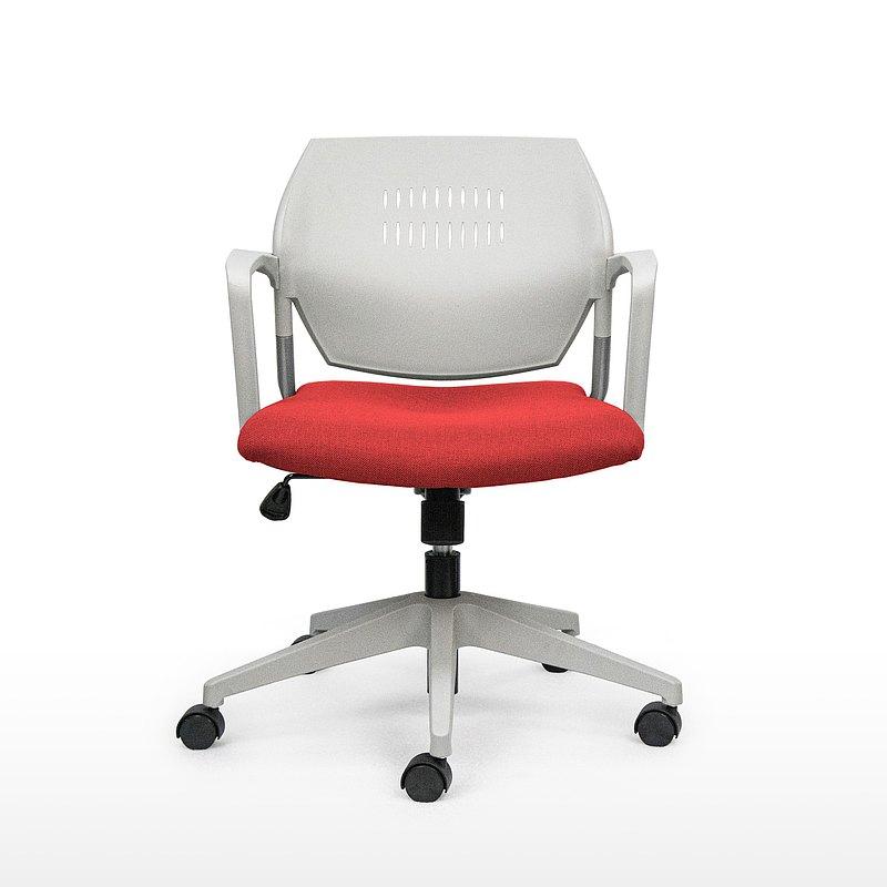 IMPRESSA | 小資扶手辦公椅 - 灰 x 紅座
