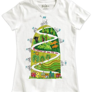 Classic white short-sleeved T-shirt _ summer memory series - landscape of life (Female M without inventory)