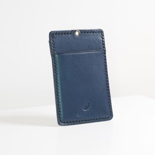 Leather ID pouch - Navy