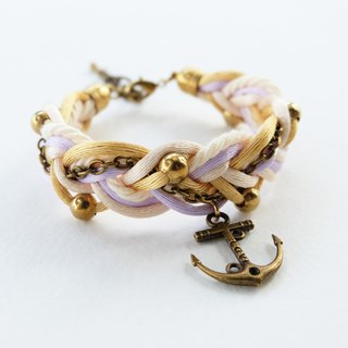 White Gold Lilac braided bracelet with brass anchor