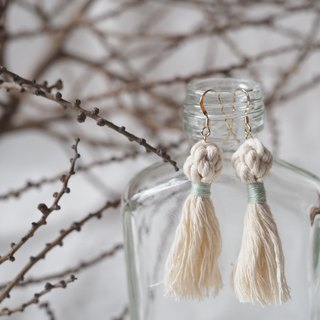 Elegant Macrame Ball Earrings With Tassels  (light blue)