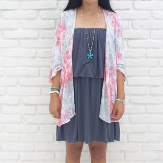 Adult cute uneven dyed kimono cardigan <Pink Gray>