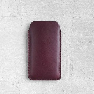 Grape purple iPhone Handmade natural genuine leather sleeve pouch case