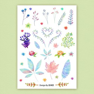 Watercolor leaves transparent stickers