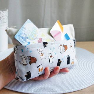 Lovely [Japanese cloth order] cat musician large-capacity multi-separated pencil case, tool bag, gray & C