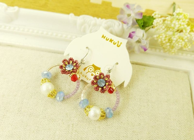 § HUKUROU§ Little Ladybug Crystal Garden Earrings (Forest) (Ladybug) (Pearl) (Anti-Allergy)