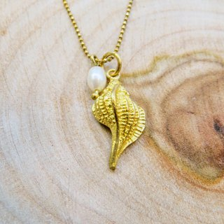 Wing Wing Hand-made jewelry, brass X small pearl short necklace (shell & Echinacea)